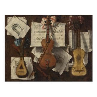 Sebastiano Lazzari Trompe - Violin and Music Notes Postcard