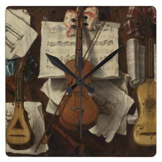 Sebastiano Lazzari Trompe - Violin and Music Notes Square Wall Clock