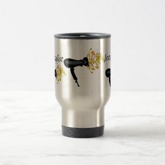 Secador del aire del estilista del salón tazas de café