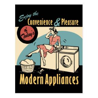 Secador retro de la lavadora del ama de casa tarjetas postales