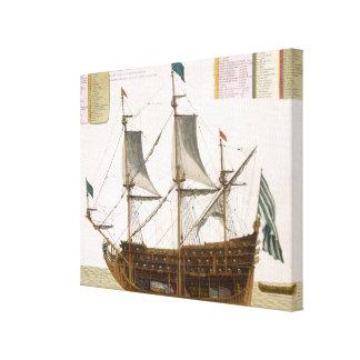 Sección a través de una nave de primer orden franc lona estirada galerías
