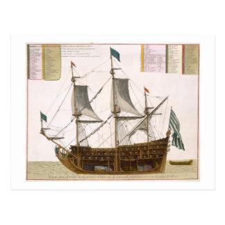 Sección a través de una nave de primer orden franc tarjeta postal
