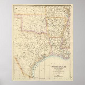 Sección central del sur de Estados Unidos Póster