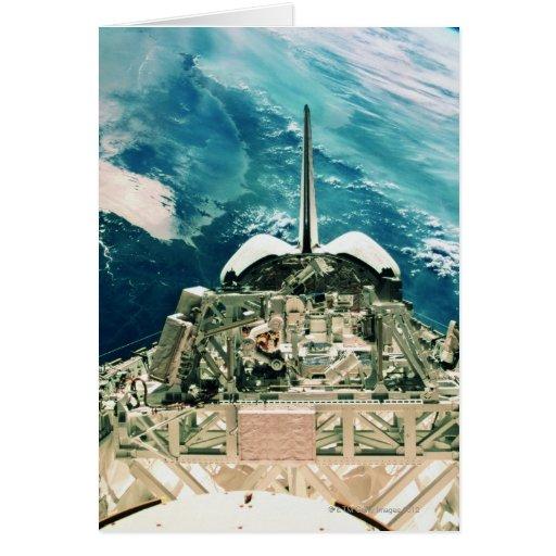 Sección de cola del transbordador espacial tarjeta de felicitación