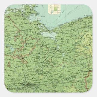 Sección del este de Alemania Pegatina Cuadrada