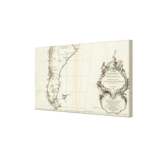 Sección del sur grabada mapa americano lienzo envuelto para galerías