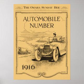 sección diaria 1916 del automóvil de la abeja de O Póster