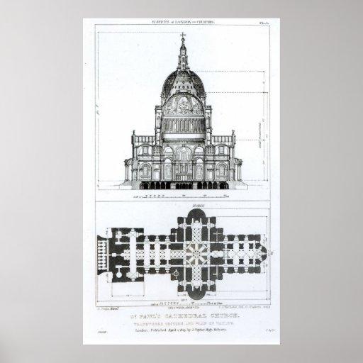 Sección representativa de la catedral de San Pablo Póster