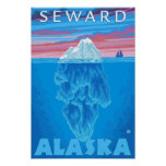 Sección representativa del iceberg - Seward, Alask Póster