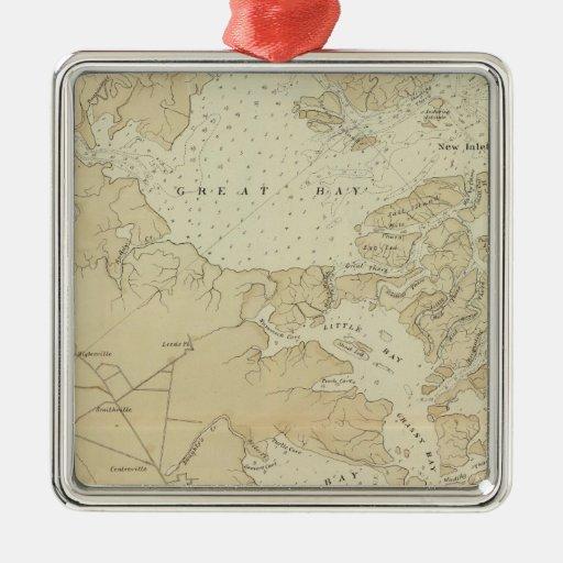 Sección Tuckerton de la costa al mapa de la carta  Adorno De Navidad