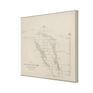 Sección vertical del este y del oeste, nueva mina  lienzo envuelto para galerías