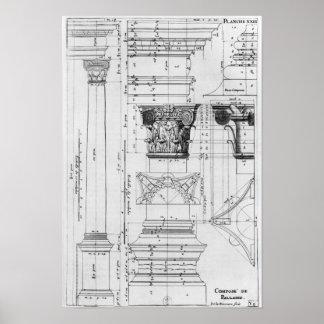 Sección y elevación de una columna compuesta impresiones