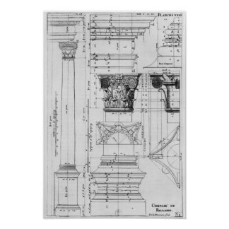 Sección y elevación de una columna compuesta póster