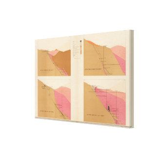 Secciones representativas verticales de la veta, e lienzo envuelto para galerías