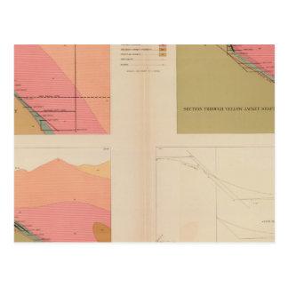 Secciones representativas verticales de la veta, postales