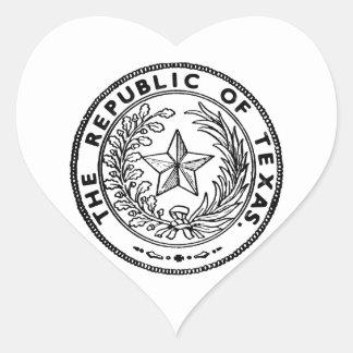 Secede la República de Tejas Calcomania Corazon
