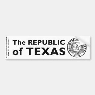 Secede Republic of Texas Car Bumper Sticker