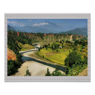 Secenic View  LANGTAD  Nepal : CRYSTAL Border Poster