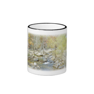 Secluded Creek in the Forest with Matte Ringer Mug