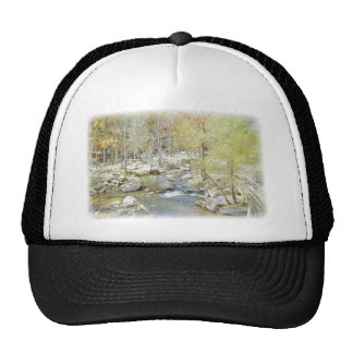 Secluded Creek in the Forest with Matte Trucker Hat