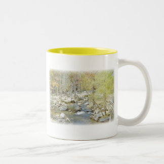 Secluded Creek in the Forest with Matte Two-Tone Coffee Mug