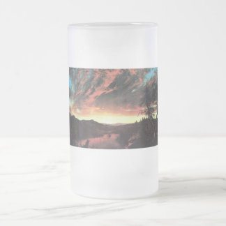 Secluded landscape in the sunset, Frederick Church Frosted Glass Beer Mug