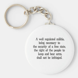 Second Amendment Basic Round Button Keychain