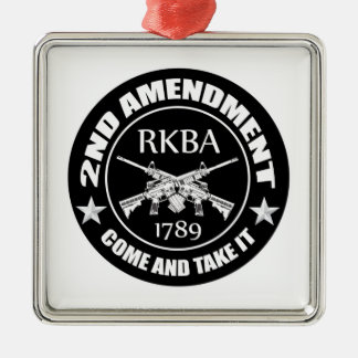 Second Amendment Come And Take It RKBA AR's Square Metal Christmas Ornament