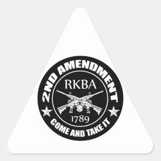 Second Amendment Come And Take It RKBA AR's Triangle Sticker