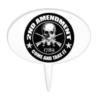 Second Amendment Come and Take It Skull and AR's Cake Topper