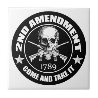 Second Amendment Come and Take It Skull and AR's Ceramic Tile
