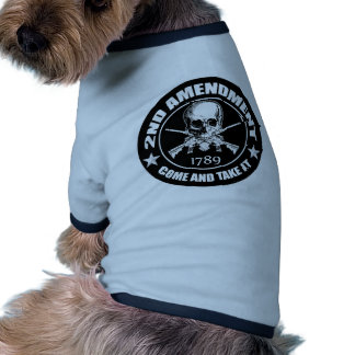 Second Amendment Come and Take It Skull and AR's Dog Tshirt
