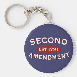 Second Amendment Est 1791 Basic Round Button Keychain