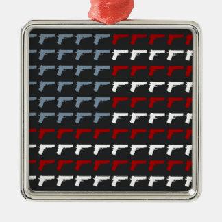 Second Amendment Flag Square Metal Christmas Ornament