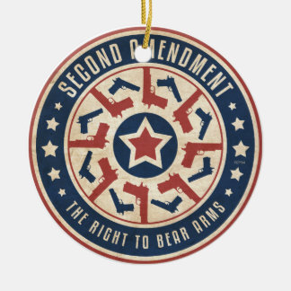 Second Amendment Double-Sided Ceramic Round Christmas Ornament