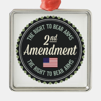 Second Amendment Square Metal Christmas Ornament