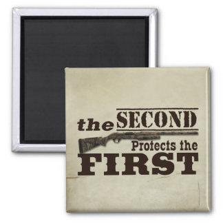 Second Amendment Protects First Amendment 2 Inch Square Magnet