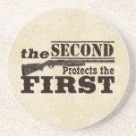 Second Amendment Protects First Amendment Beverage Coaster