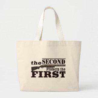 Second Amendment Protects First Amendment Large Tote Bag