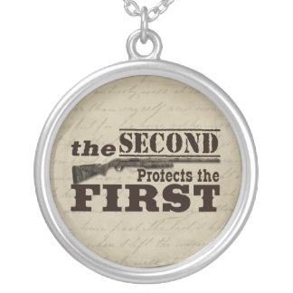 Second Amendment Protects First Amendment Round Pendant Necklace