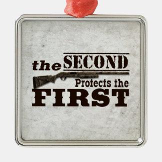 Second Amendment Protects First Amendment Square Metal Christmas Ornament