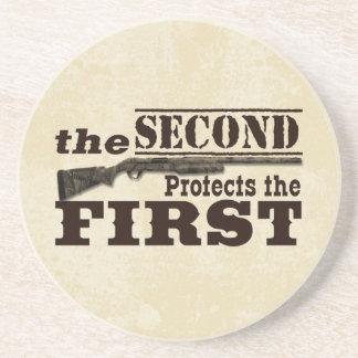 Second Amendment Protects First Amendment Sandstone Coaster