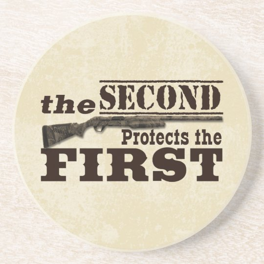 Second Amendment Protects First Amendment Sandstone Coaster