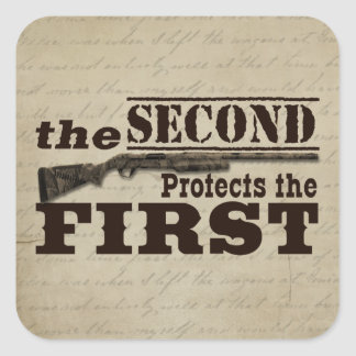 Second Amendment Protects First Amendment Square Sticker