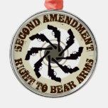 Second Amendment Round Metal Christmas Ornament