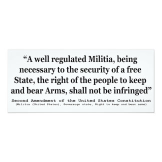 Second Amendment to the United States Constitution Card