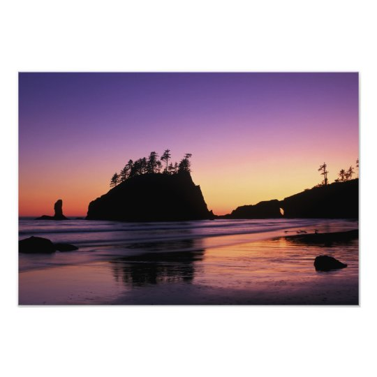 Second Beach at Twilight, Olympic NP, WA, USA Photo Print