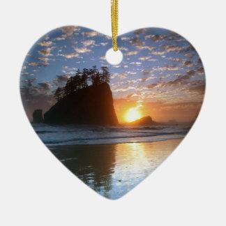 Second Beach, La Push puesta de sol, Adorno De Cerámica En Forma De Corazón