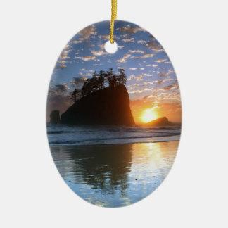 Second Beach, La Push puesta de sol, Adorno Ovalado De Cerámica