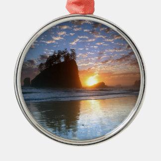 Second Beach, La Push puesta de sol, Adorno Redondo Plateado